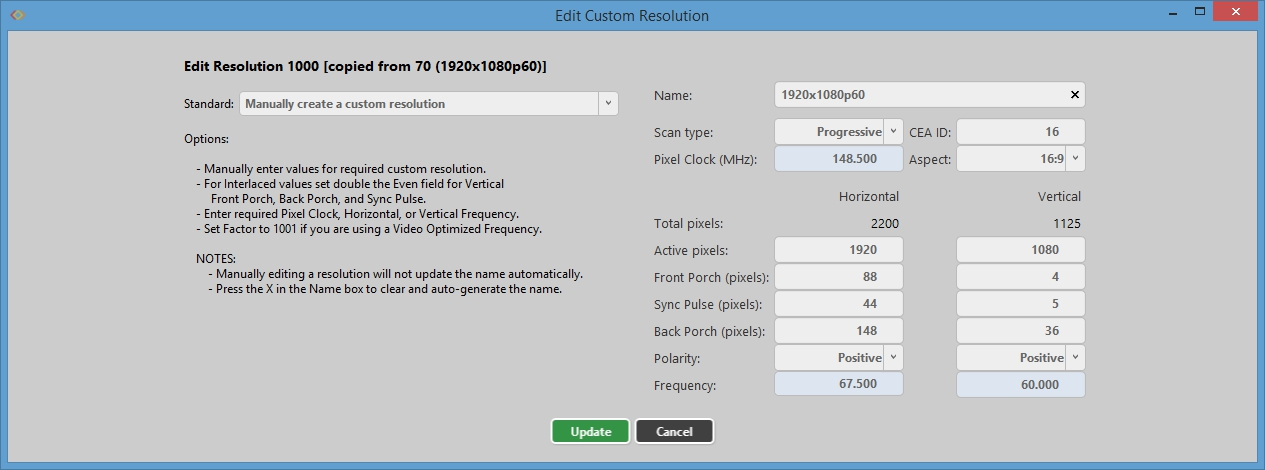 Resolution Editor